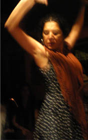 Ana, one of the teachers at the Flamenco School 'La Fuente', dancing at a Flamenco lesson