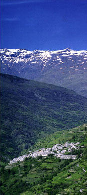 Capileira, where our Flamenco School is set, with mountain peaks above